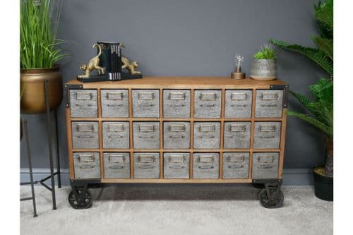 INDUSTRIAL GREY METAL STORAGE LOW CHEST DRAWERS APOTHECARY (DX6690)